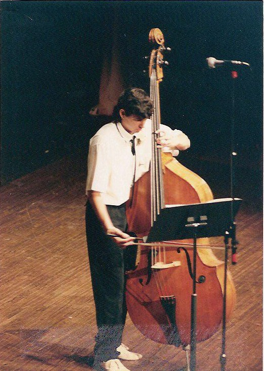 The earliest known picture of me and my bass. 10th grade. Playing the Scarlatti Sonata.